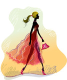Vector art illustration of silhouette of walking lady