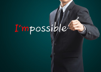 Hand drawing and changing the word impossible to i'm possible