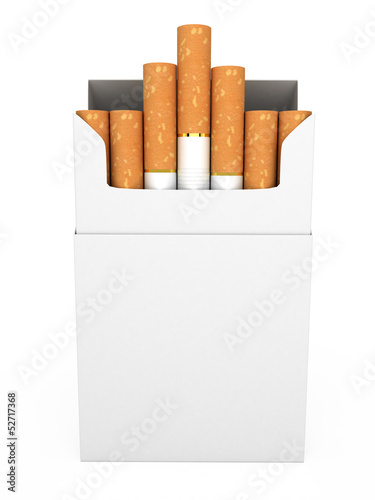 Open full pack of cigarettes isolated