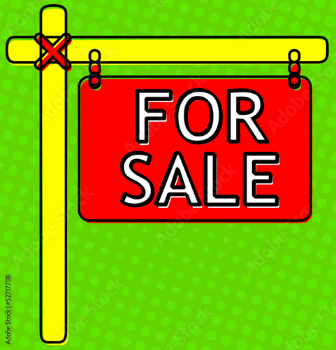 For Sale Sign Halftone backdrop, Comic Look