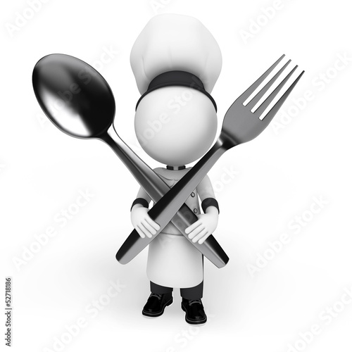 3d white people as chef
