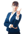 Attractive businesswoman touching an invisible screen against