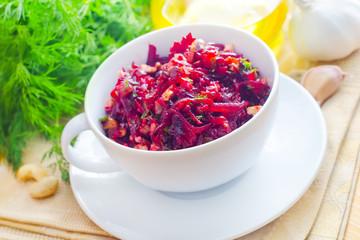 Fresh salad with beet and walnuts, vegetarian salad