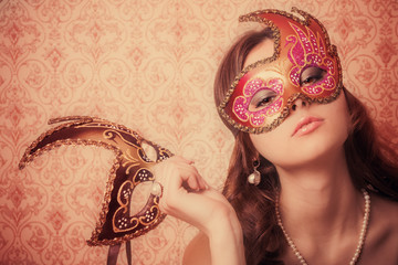beautiful girl in mask