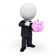 3d white people as business man with piggy bank