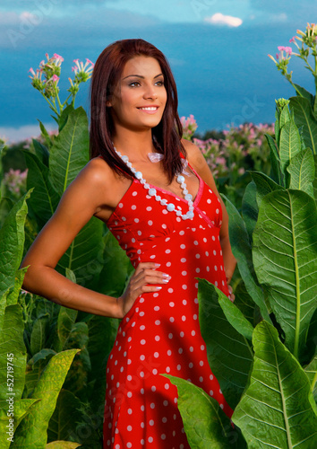 Young woman posing, outside shot in summer day