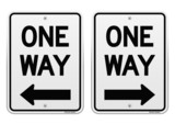 White One Way Signs