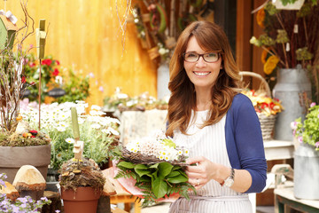 Smiling Mature Woman Florist Small Business Flower Shop Owner