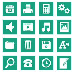 Set 1 icônes bureau basic uni