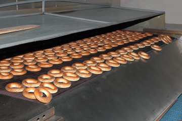 Ruddy bagels from the oven.