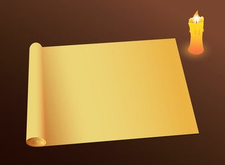 Background with old paper and a candle. Vector