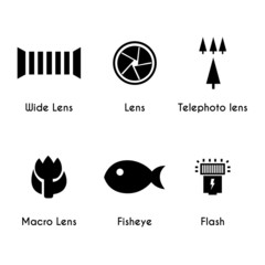Photo lens icons set