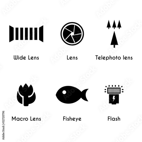 Photo lens icons set