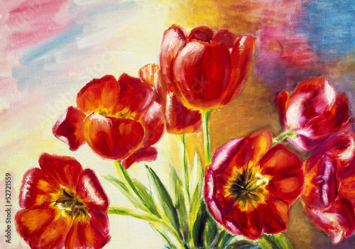 Tulips, oil painting