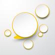 Paper white-yellow round speech bubbles.