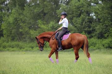 Horseback riding in evening park