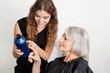 Hairdresser Advising Hair Color To Client