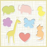 Cute childlike stickers, vector bubbles. Animals. poster