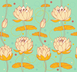 Floral pattern with water lilies