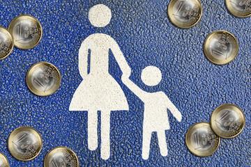 Piktogramm Mutter und Kind und Geldmünzen, Betreuungsgeld
