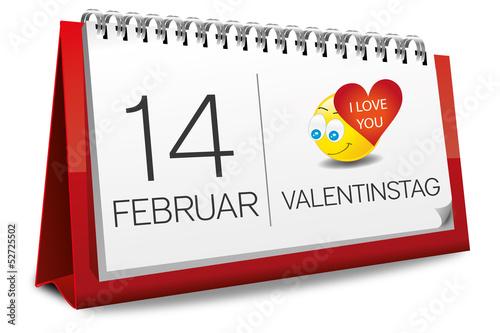 Kalender 14 Februar Valentinstag Liebe Herz Smilie Smiley