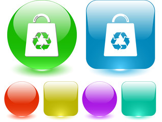 Bag with recycle symbol. Vector interface element.
