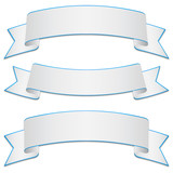 Set of white bands with blue edges