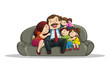 vector illustration of happy family sitting in couch