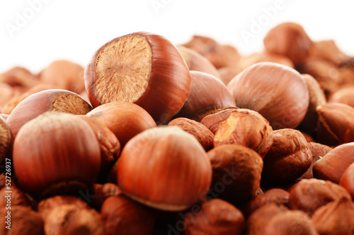 Composition with hazelnuts isolated on white
