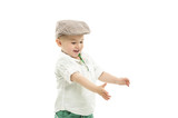 Laughing youngster holding out his hands poster