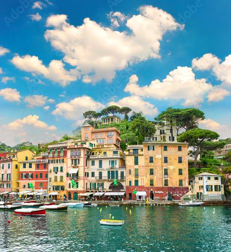 Aluminium famous Portofino village on Ligurian coast