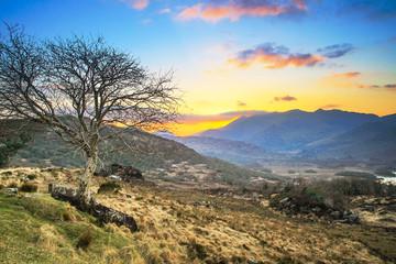 Killarney pass in county Kerry at sunset, Ireland