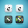 set of app icon with music volume control knob