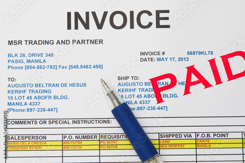 Close-up picture of an invoice