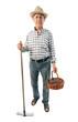 a farmer man holds a rake