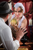 Pretty Fortune Teller Holding Crystal Ball poster