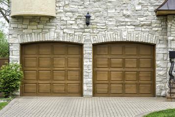 Two car arch wooden garage