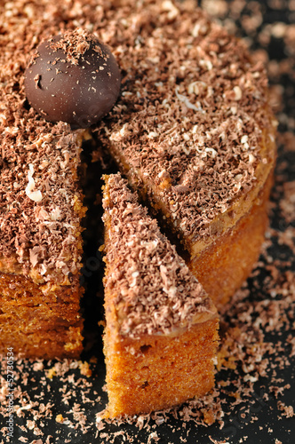Slice of a chocolate and walnut cake . Close up shot.