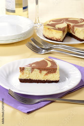 chocolate cheesecake on a plate