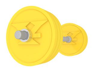 Штанга из монет. Японская йена