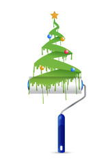 paint roller and christmas tree illustration