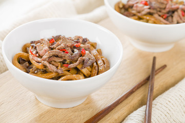 Chinese spicy beef and black bean sauce with thick noodles