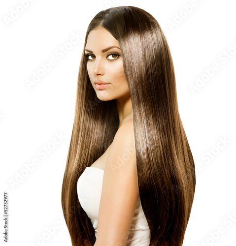 Beauty Woman with Long Healthy and Shiny Smooth Brown Hair