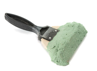 trowel with mortar isolated