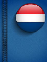 Netherlands Flag Button in Jeans Pocket