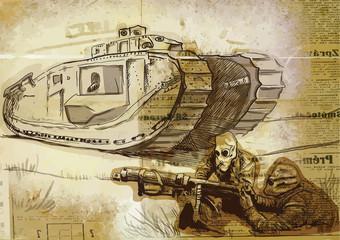 World between 1905-1949 - Battle (drawing into vector)
