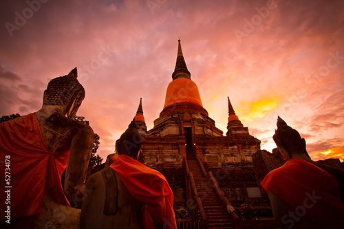 Buddhas and pagoda in Ayutthaya province of Thailand