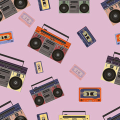 Seamless texture. Boombox and a cassette. Retro. vector