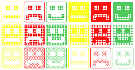 Basic Smilies Symbols Patchwork of Color Dots