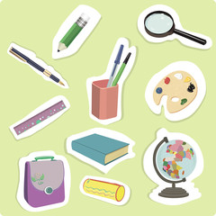 Set of school supplies. Office supplies. Sticker. vector